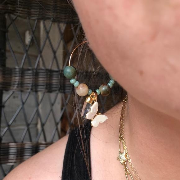 Indian agate silver hoop earrings